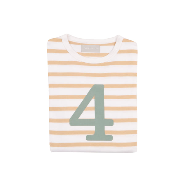 Biscuit & White Breton Striped Number 4 T Shirt