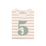 Biscuit & White Breton Striped Number 5 T Shirt