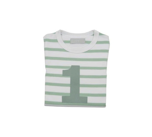 Seafoam & White Breton Stripe Number 1 T Shirt