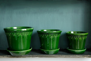 Bergs Copenhagen Glazed Green 10cm diameter pot