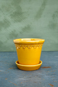 Bergs Copenhagen Glazed Yellow 14cm diameter pot