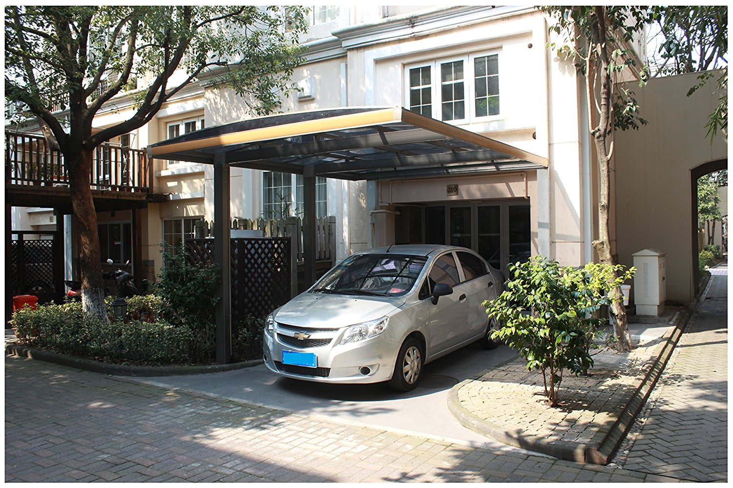 10u0027 x 18u0027 Premium Metal Carport Aluminum Polycarbonate Garage Canopy Durable with Gutter Metal Vehicle Shelter for Car Yacht and Copter  Car Cover Heavy ... & 10u0026#39; x 18u0026#39; Premium Metal Carport Aluminum Polycarbonate ...
