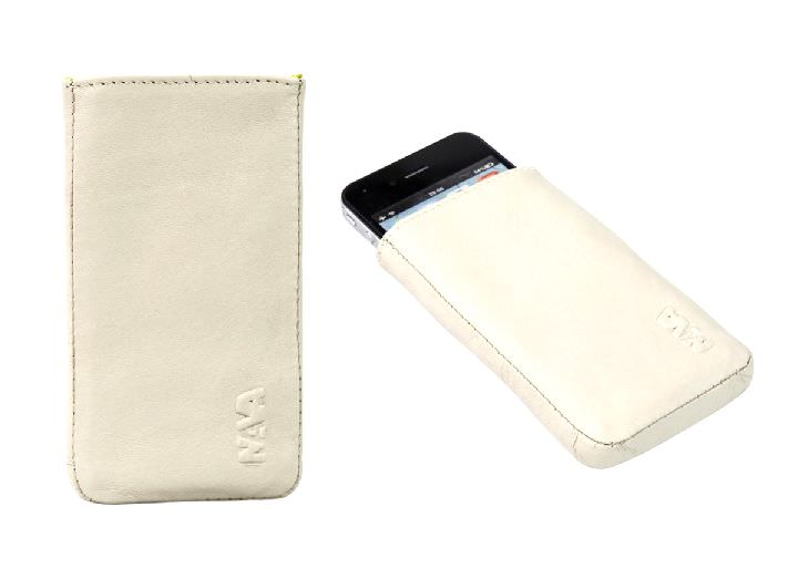 Smartphonetasche Nava Smart-Phone iPhone Handy-Etui Creme Leder Art.-Nr. NL40CR