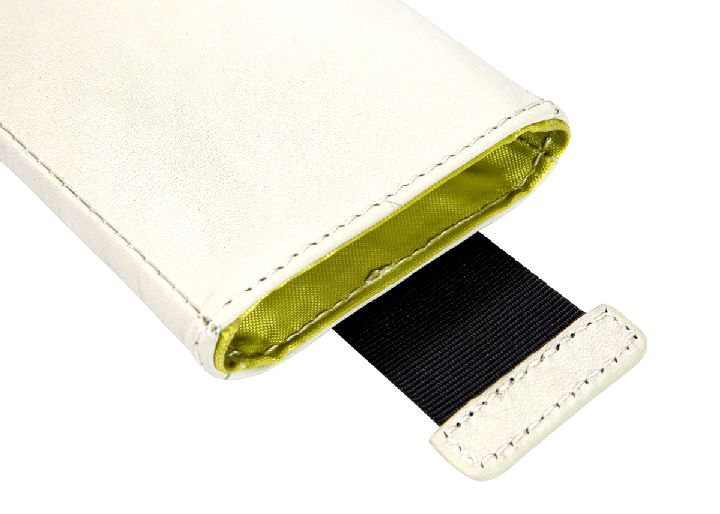 Smartphonetasche Nava Smart-Phone iPhone Handy-Etui Creme Leder - Handytasche Art.-Nr. NL40CR