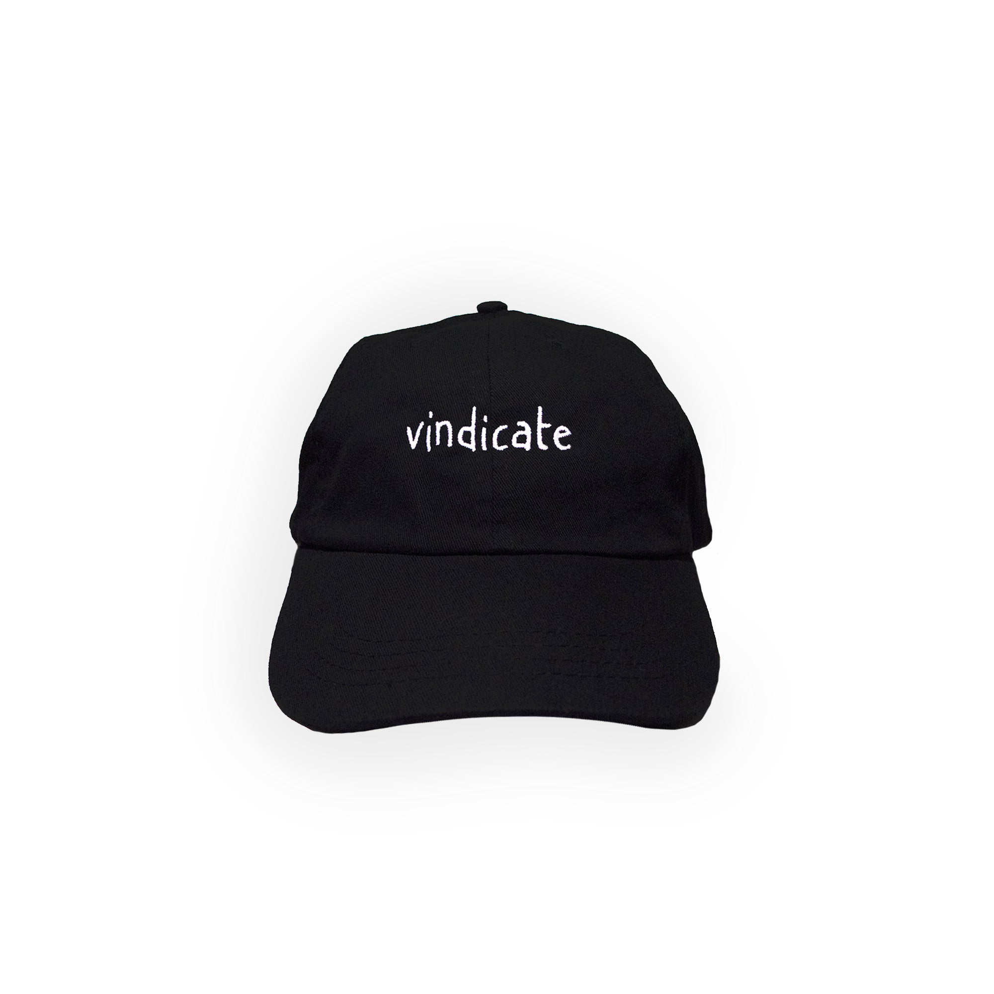 Black 6-panel dad cap with vindicate handstyle text embroidered in centre