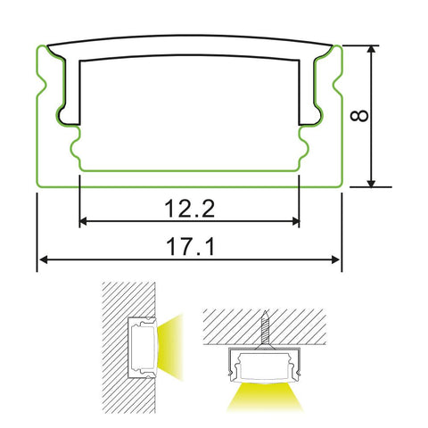 Measurements: 17mm Surface Mounted Aluminium LED Profile Housing for LED Strip | 2m