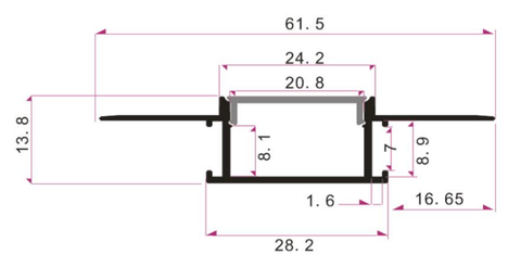 Measurements: Wide Plaster In Aluminium Profile Channel for LED Strip (2m)