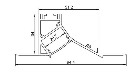 Measurements: Ceiling Mount Plaster In Wall Wash Profile In White & Diffuser for LED Strip (2m)