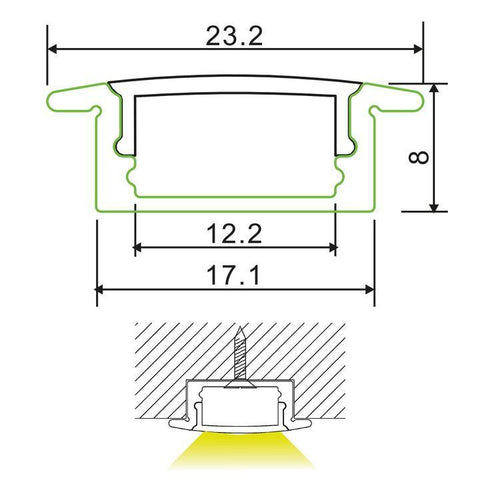 Measurements: 17mm Recessed Aluminium Profile Channel for LED Strip | 2m