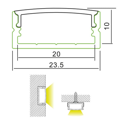 Measurements: 24mm Wide Surface Mounted Aluminium Profile and Diffuser for LED Strip (2m)