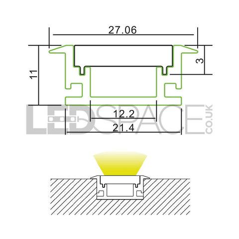 Measurements: Floor Mounting Aluminium Profile Channel for LED Strip (2m)