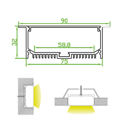 Measurements: Recessed Plaster In Aluminium Profile Channel For LED Strip (2m)