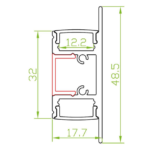 Measurements: Wall Washer Up & Down Aluminium Profile Channel For LED Strip (2m)