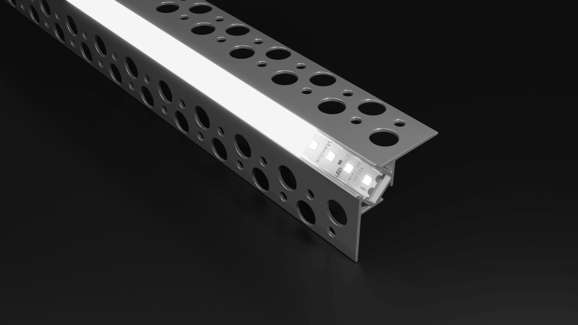 ALU70 External Corner Recessed Plaster In Aluminium and Diffuser For 10mm LED Strip (2.5m)
