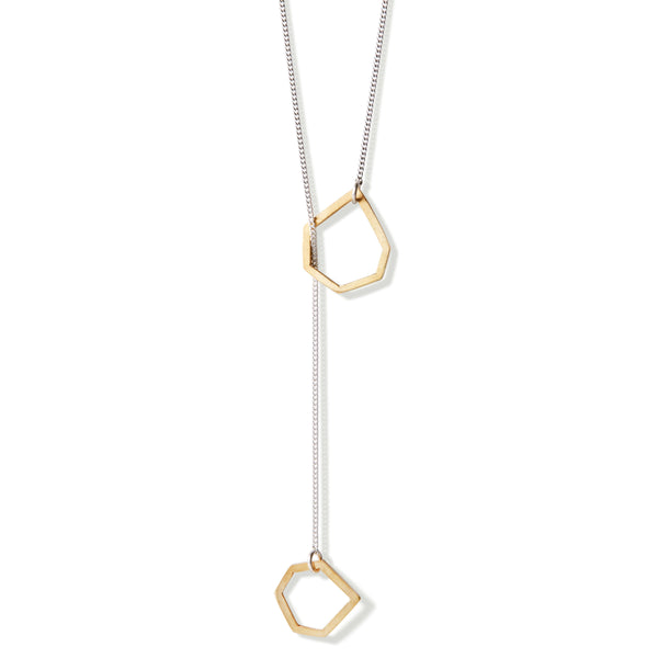 Two brass geometric shapes on 60cm sterling silver chain.