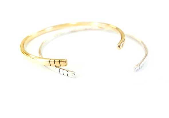 Sterling silver / Brass bangle with simple line detail