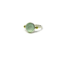 silver ring with 10mm checkerboard cut semi-precious stone.