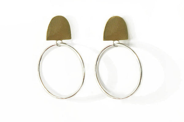 Brass & sterling silver earrings with silver earring pin