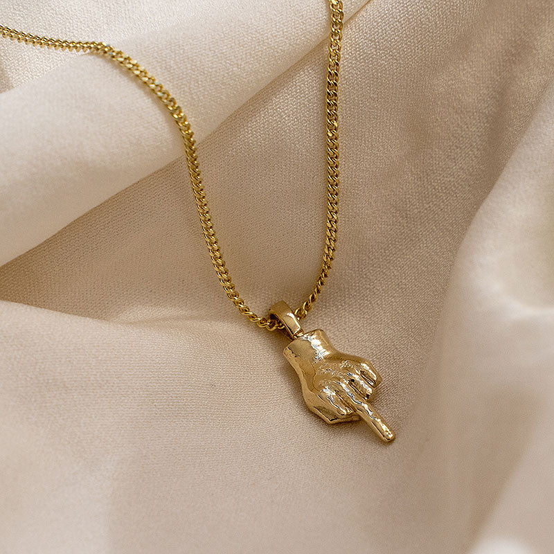 Gold Middle Finger Pendant