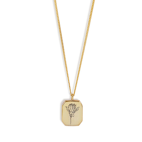 Gold Rectangle Protea Necklace