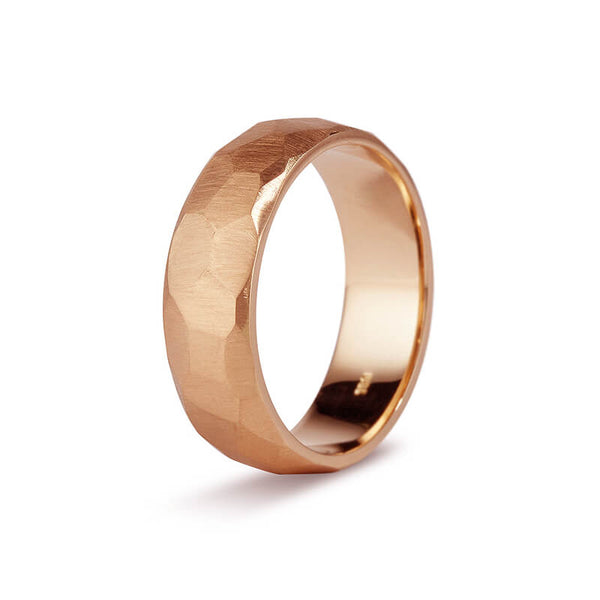 Rose Gold Faceted Men's Band