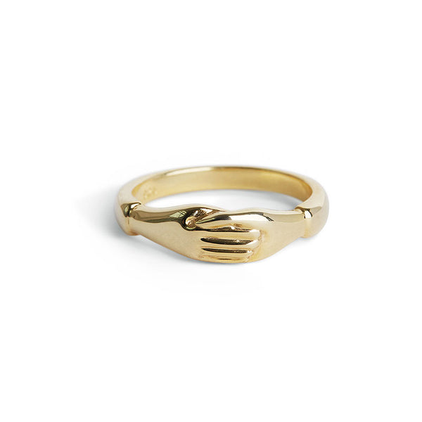 Gold Holding Hands Ring