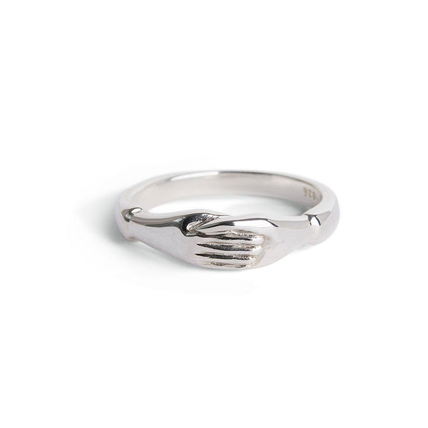 Silver Holding Hands Ring