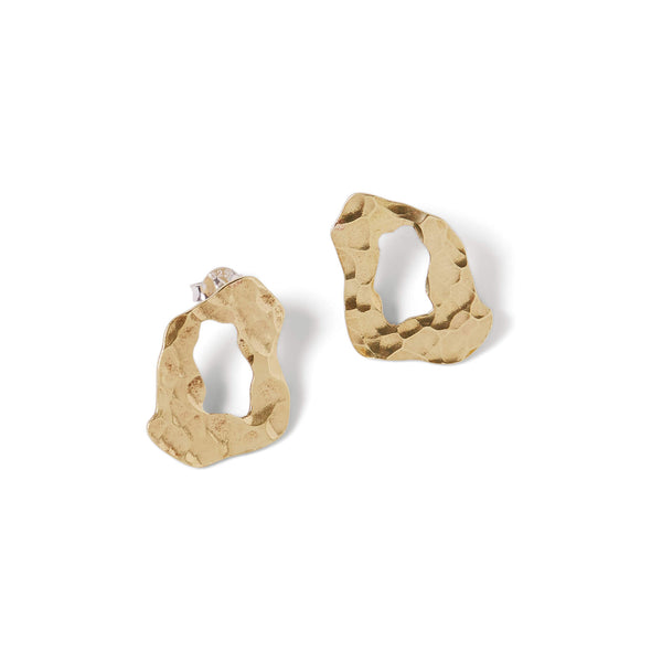 Brass organic shaped studs with sterling silver earrings