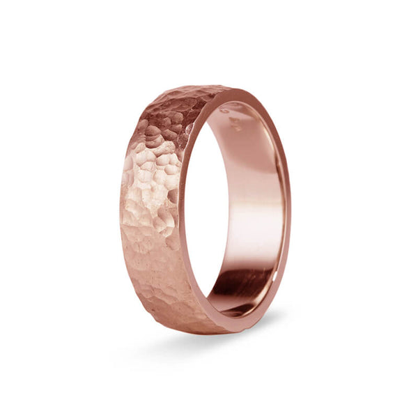 Rose Gold Hammered Men's Band