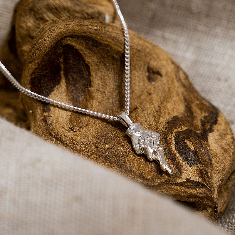 Silver Fingers Crossed Pendant