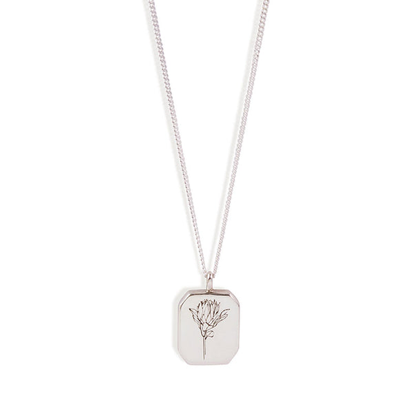 Silver Rectangle Protea Necklace