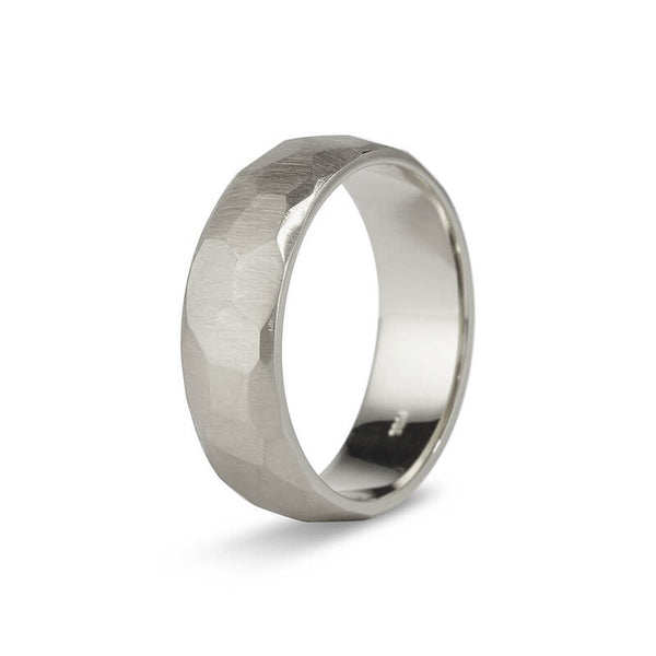 White Gold Faceted Men's Band
