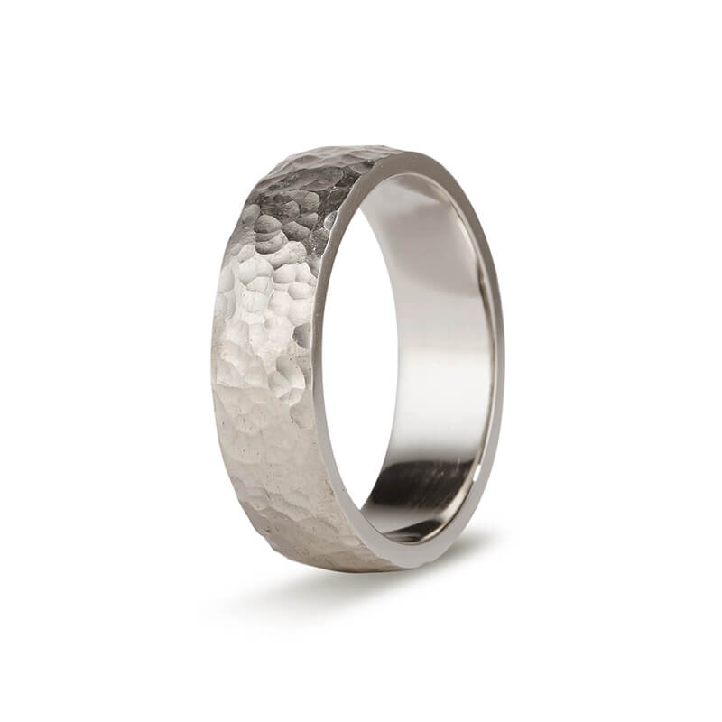 White Gold Hammered Men's Band