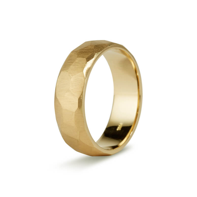 Yellow Gold Faceted Men's Band
