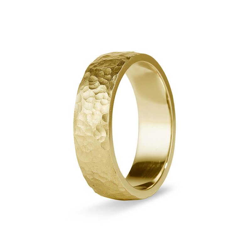 Yellow Gold Hammered Men's Band