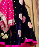 Dark Blue Velvet-e-Banarasi Skirt With Net Dupatta