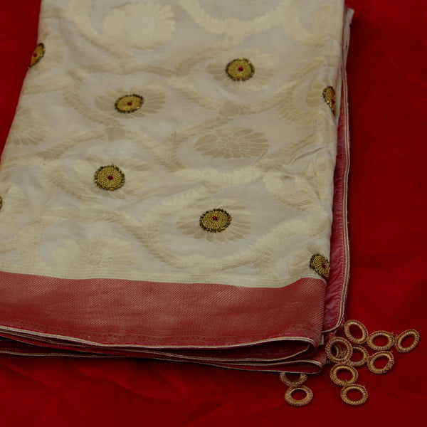 Pure Beige Gold Jaal Dupatta With Contrast Red Fabric - shoonya banaras