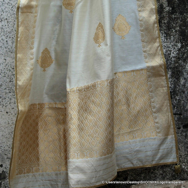Pure Silk Ivory Dupatta With Gold & Pearl Tassels - shoonya banaras