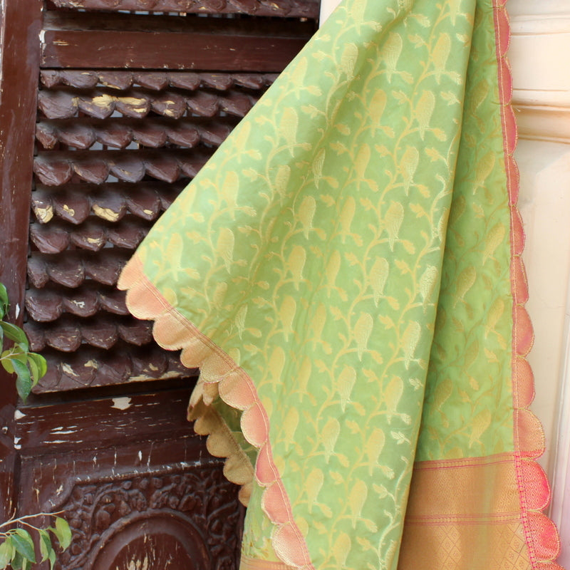 Pista Green Bird Art Silk Dupatta With Cutwork Border - shoonya banaras
