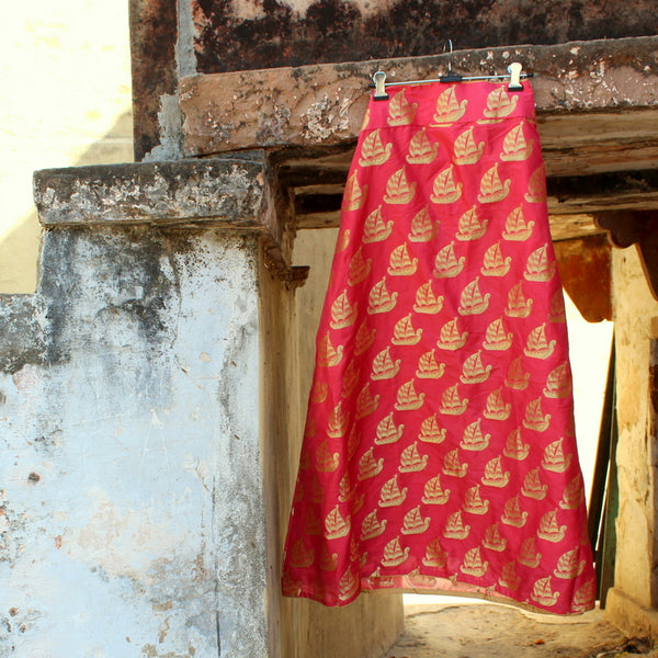 Blush Peach Banarasi Skirt - shoonya banaras