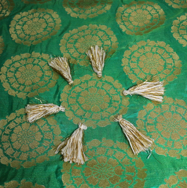 Pure Green Flower Boota Fabric - shoonya banaras