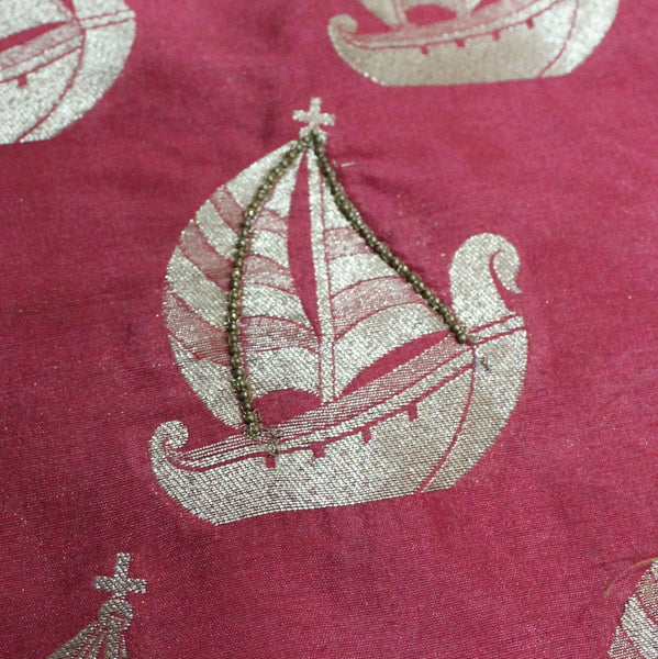 Peach Ship Motifs Fabric With Handwork - shoonya banaras