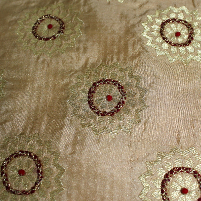 Pure Beige Fabric With Crystal Handwork - shoonya banaras