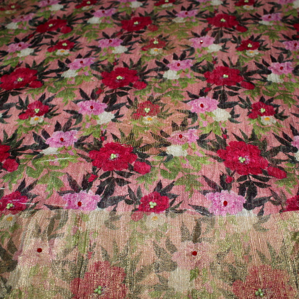 Pink Pure Linen With Self-Weaving & Flower Prints Fabric - shoonya banaras