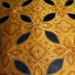 Pure Mustard Brocade Fabric With Leather Applique - shoonya banaras