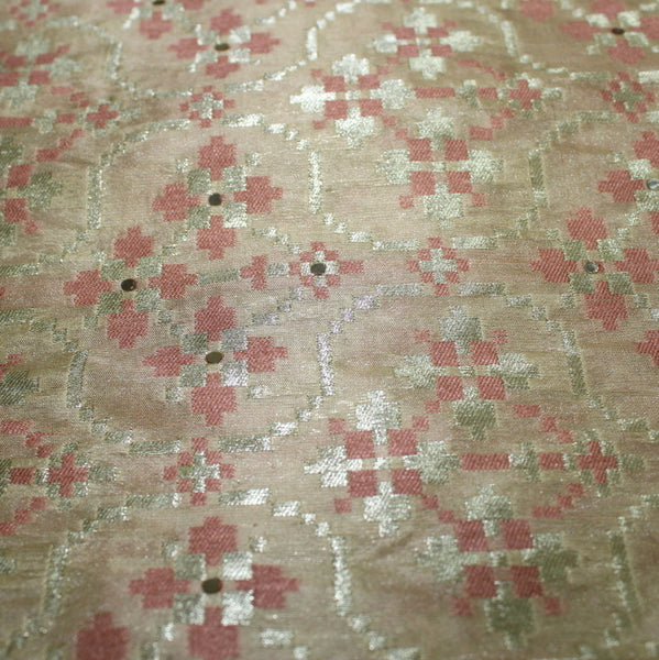 Pure Dual Color Weaving Brocade Fabric With Highlights - shoonya banaras