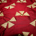 Pure Silk Maroon Fabric With Applique Petals - shoonya banaras