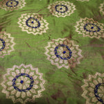 Pure Green Fabric With Crystal Handwork - shoonya banaras