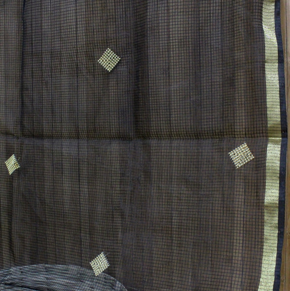 Banarasi Net Dupatta With Square Embellishments - shoonya banaras
