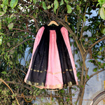 Cut & Sew Silk Skirt (Black & Light Pink) - shoonya banaras